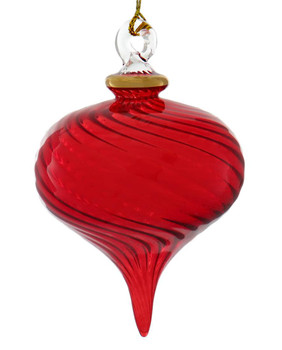 SM Twisty Swirl Egyptian Glass Ornament - Red