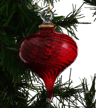 Twisty Swirl Egyptian Glass Ornament - Red Garland 1