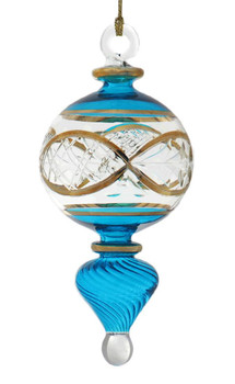 24k Gold Etched Egyptian Glass Ornament - Teal Blue