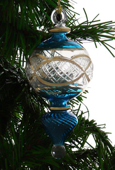 24k Gold Etched Egyptian Glass Ornament - Teal Blue Garland 1