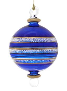 Ball Egyptian Glass Ornament - Blue