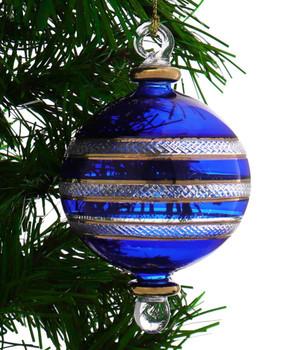 Ball Egyptian Glass Ornament - Blue garland view 1
