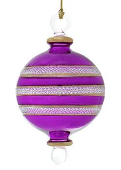 Ball Egyptian Glass Ornament - Purple