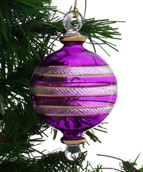 Ball Egyptian Glass Ornament - Purple Garland 1