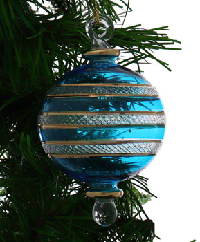 Ball Egyptian Glass Ornament - Teal Blue Garland View 1