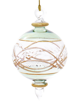 Round Etched Egyptian Glass Ornament - Green