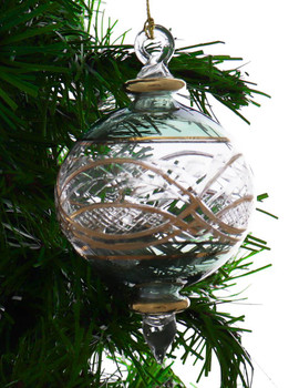 Round Etched Egyptian Glass Ornament - Green Garland 1