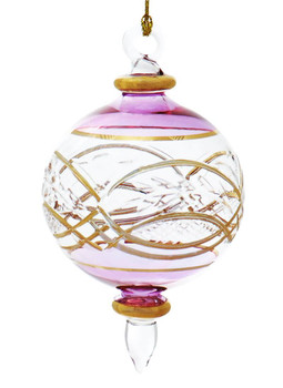 Round Etched Egyptian Glass Ornament - Purple