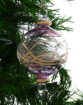 Round Etched Egyptian Glass Ornament - Purple Garland View 1