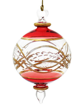 Round Etched Egyptian Glass Ornament - Red
