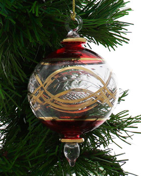 Round Etched Egyptian Glass Ornament - Red Garland 1