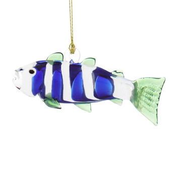 Blue and White Fish Egyptian Glass Ornament - Other
