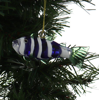Blue and White Fish Egyptian Glass Ornament - Other Garland View 1