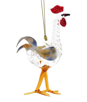 Fun Rooster Egyptian Glass Ornament