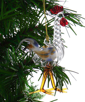 Fun Rooster Egyptian Glass Ornament garland view