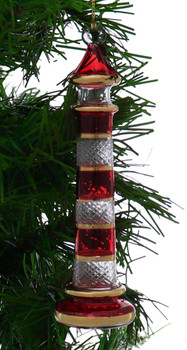 Lighthouse Egyptian Glass Ornament - Red-Clear garland view