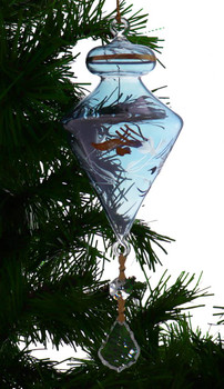 Top with Leaves Egyptian Glass Ornament - Blue Garland View 1