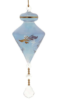 """Top with Leaves Mouth-Blown Egyptian Glass Ornament - Blue, 8 1/2"""", EM15777"""