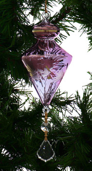 Top with Leaves Egyptian Glass Ornament - Purple Garland 1