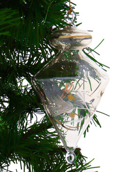 Top with Leaves Egyptian Glass Ornament - Yellow garland view 1