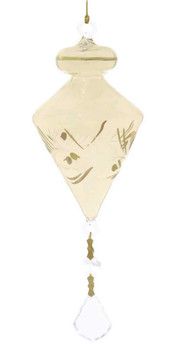 Top with Leaves Egyptian Glass Ornament - Yellow