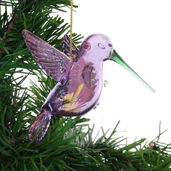 Pregnant Hummingbird Egyptian Glass Ornament - Purple Iridescent garland right side