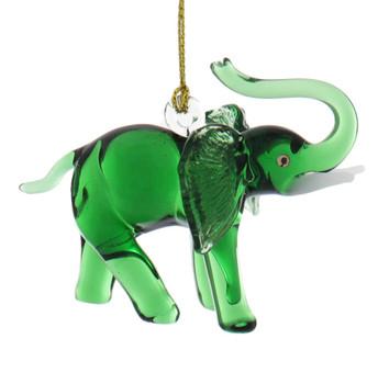 Green Elephant Egyptian Glass Ornament