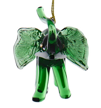 Green Elephant Egyptian Glass Ornament Front