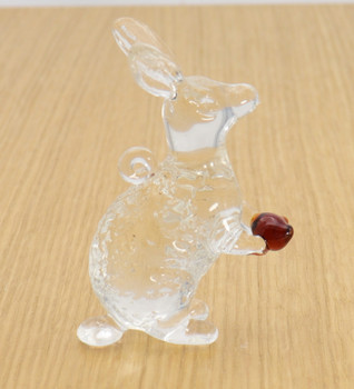 Small Clear Bunny Egyptian Glass Ornament - Clear Wood Background