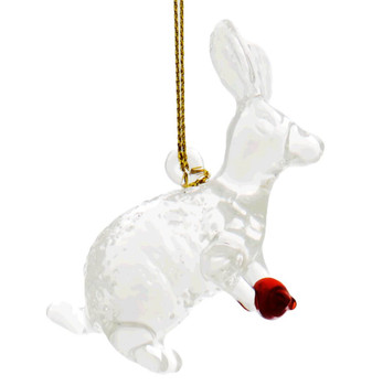 Small Clear Bunny Egyptian Glass Ornament - Clear