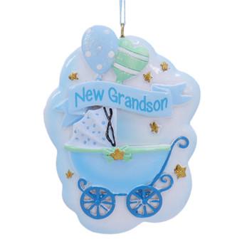 New Grandson Blue Baby Stroller Ornament
