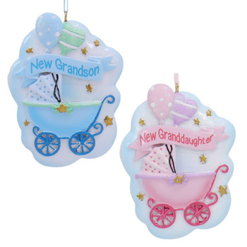 2 pc New Granddaughter Grandson Baby Stroller Ornaments