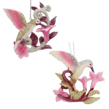 Feeding Hummingbird on Flower Ornament