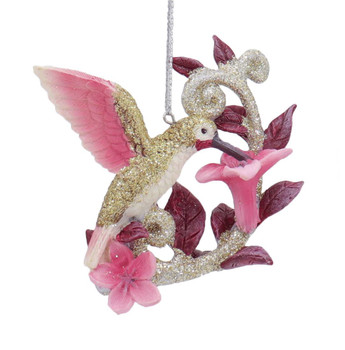 Feeding Hummingbird on Flower Ornament Gold Right Side