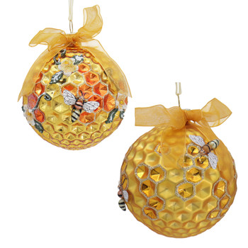 """Round Honeycomb with Bees Glass Ornament, 3 1/2"""", KAT2702"""