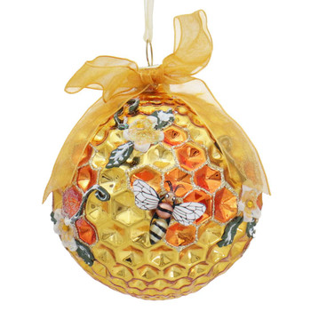 Round Honeycomb with Bees Glass Ornament Flowers Front