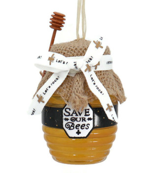 3 pc Save The Bees Honey Jar Glass Ornaments SET Save Front