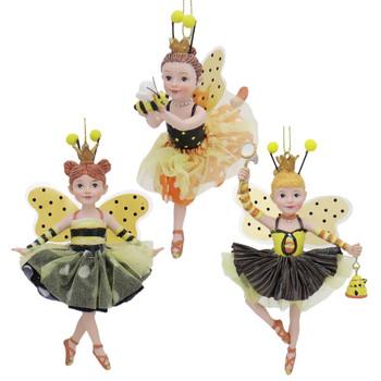 3 pc Bumble Bee Dancing Girls Ornaments SET