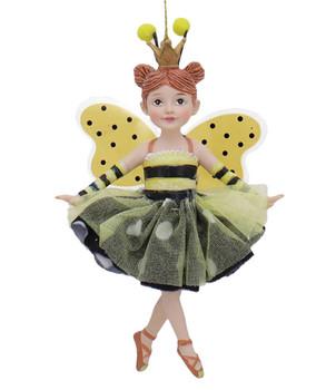Bumble Bee Dancing Girls Ornament 2 hair buns front
