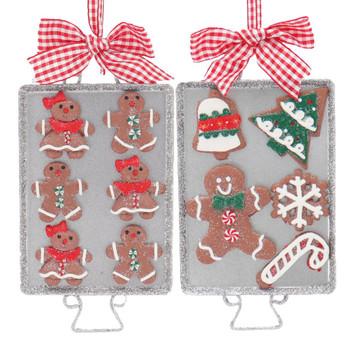 Set of 2 Gingerbread Baking Tray Ornaments SET