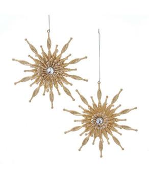"Set of 2 Large Gold Glittered Snowflake Flower Ornaments SET, 6"", KAT2844"