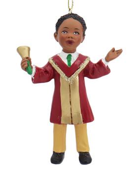 African American Boy or Girl Church Choir Singer Ornament Boy Front