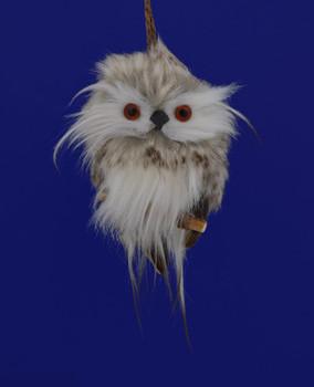 "Furry Grey Tabby Baby Owl Ornament, 4"", RGMTX55945"