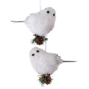"White Sisal Bird Ornament, 4"", RGMTX58729"