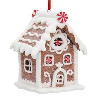 White Frosting with Mints Gingerbread House Ornament No chimney front