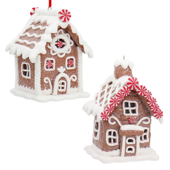 Set of 2 White Frosting with Mints Gingerbread House Ornaments SET
