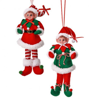 """Set of 2 Thick Wires Fabric Elf Doll Ornaments, Shelf Sitters SET, 12"""", RGMTX65209"""