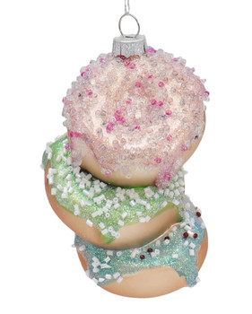 Triple Stack of Donuts Glass Ornament