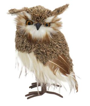 Soft Brown Yarn, Feathers Brown Owl Figurine - large