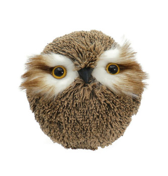 Soft Yarn Ball, Feathers Brown Owl Ornament, Decor - Large
